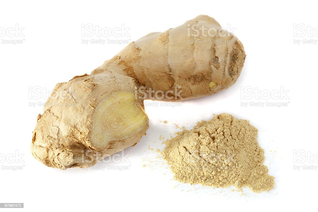 Ginger in root and powder form royalty-free stock photo
