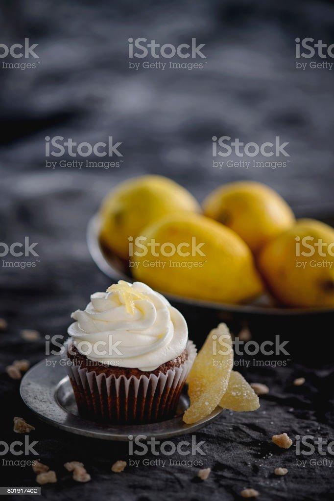 Ginger Lemon Chocolate Cupcakes stock photo