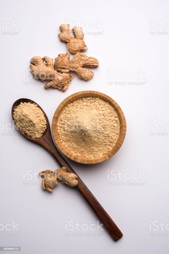 Ginger powder with dried Ginger also known as Sunth or Sonth in India stock photo