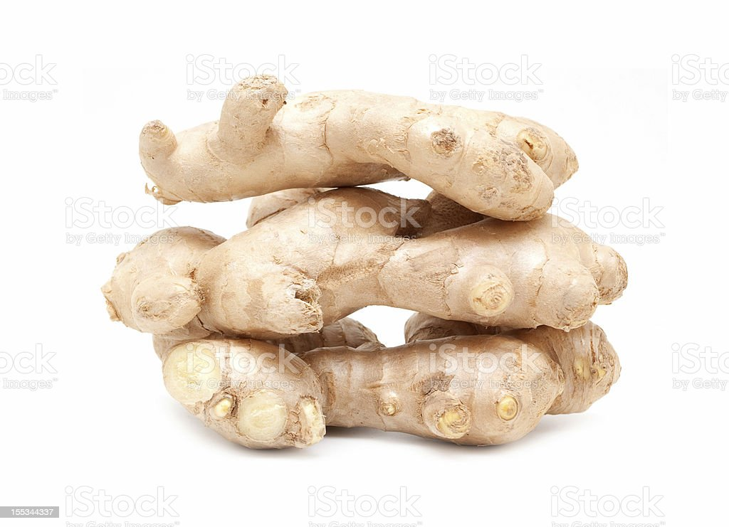 Ginger root isolated on white background royalty-free stock photo