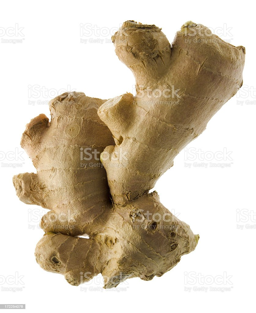 Ginger Root, Natural Fresh Food Spice Seasoning, Isolated on White stock photo