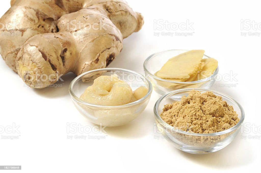 Ginger Root Paste, Powder and Sliced stock photo