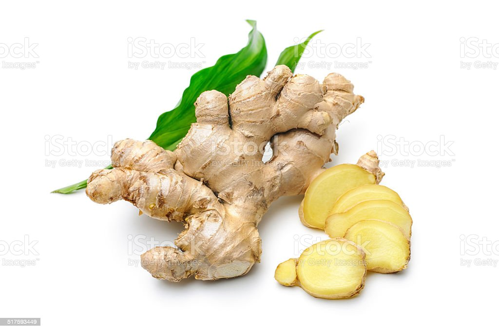 Ginger root with leaves stock photo