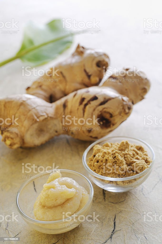 Ginger Root with Paste and Powder stock photo