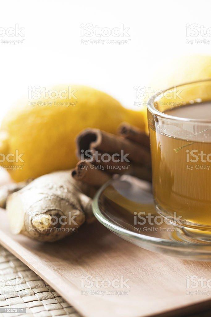 ginger tea with lemon and cinnamon royalty-free stock photo