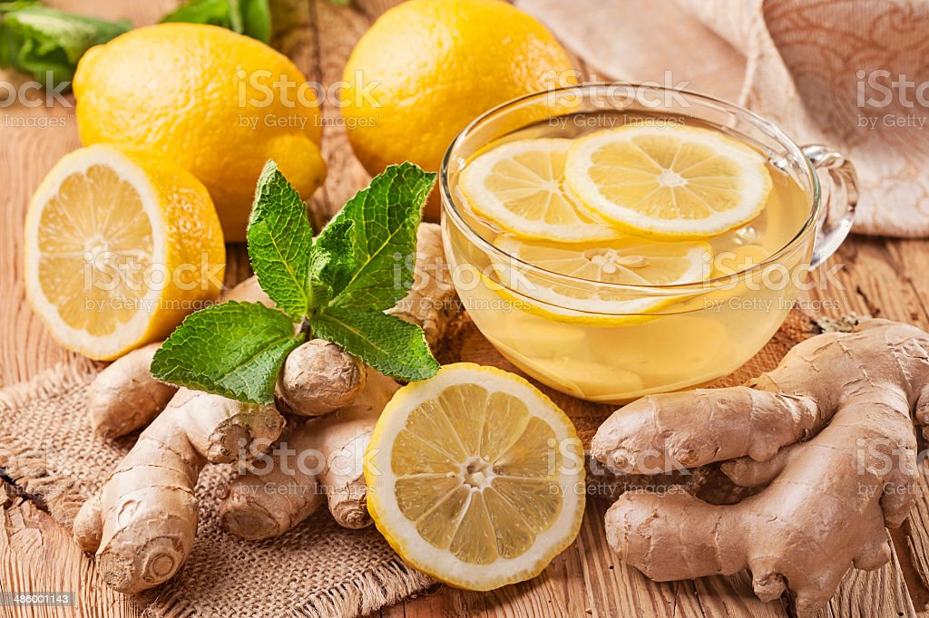 Ginger tea with lemon stock photo