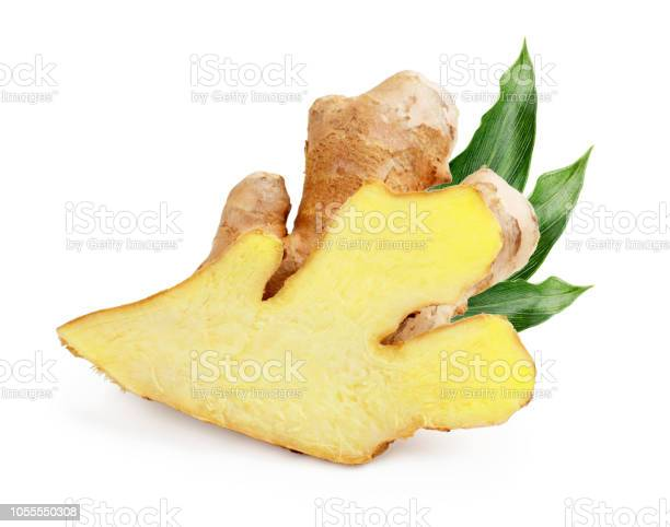 Photo of Ginger with leaves isolated on white background