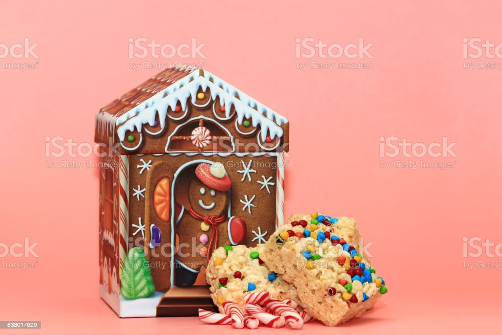 Gingerbead House with Candy Cane Pieces and Rice Krispies stock photo