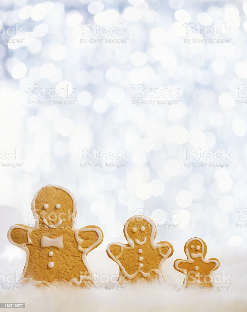 Gingerbead Man Decoration with Christmas Lights royalty-free stock photo