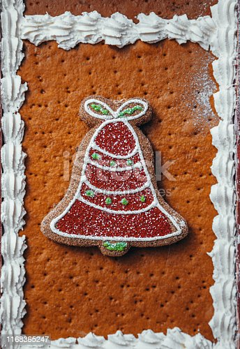 Background of gingerh house biscuits with bell shape gingerbread cookie and whipped cream for Christmas food and ornate