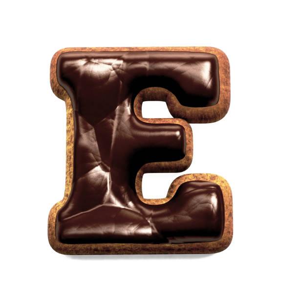 진저 비스킷 글꼴 장식 초콜릿 장식, 편지 E 스톡 사진