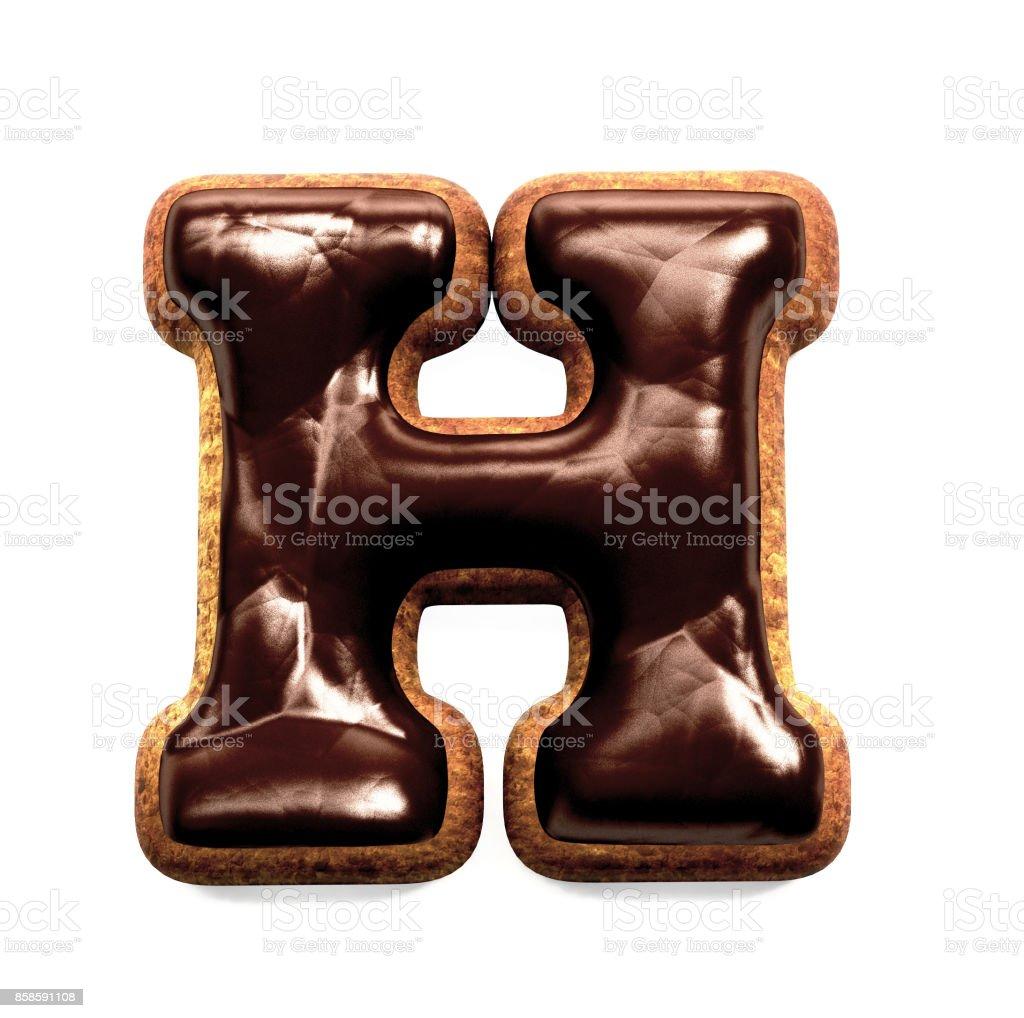 진저 비스킷 글꼴 장식 초콜릿 장식, 편지 H 스톡 사진