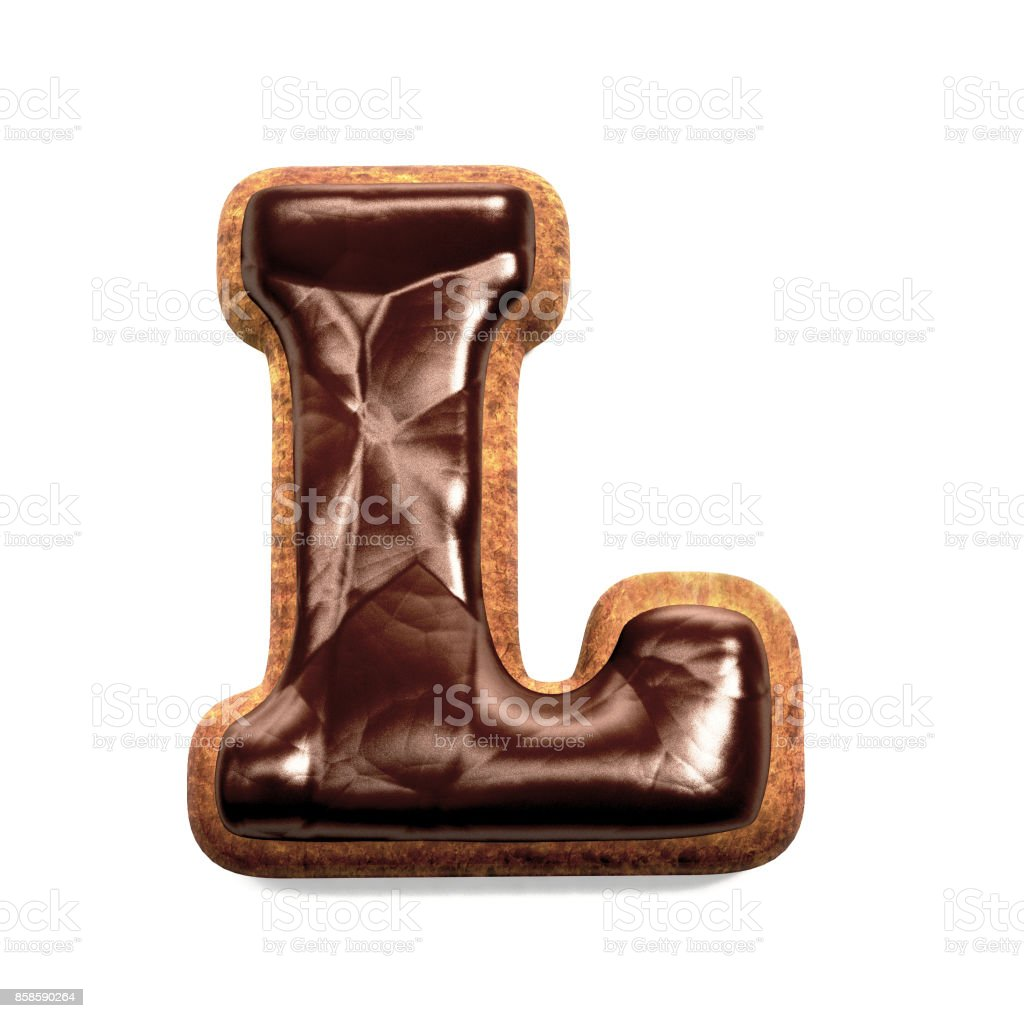 진저 비스킷 글꼴 장식 초콜릿 장식, 편지 L 스톡 사진