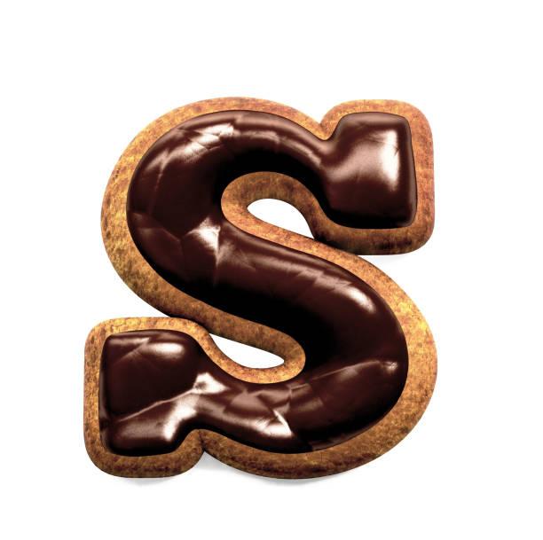 진저 비스킷 글꼴 장식 초콜릿 장식, 문자 S 스톡 사진