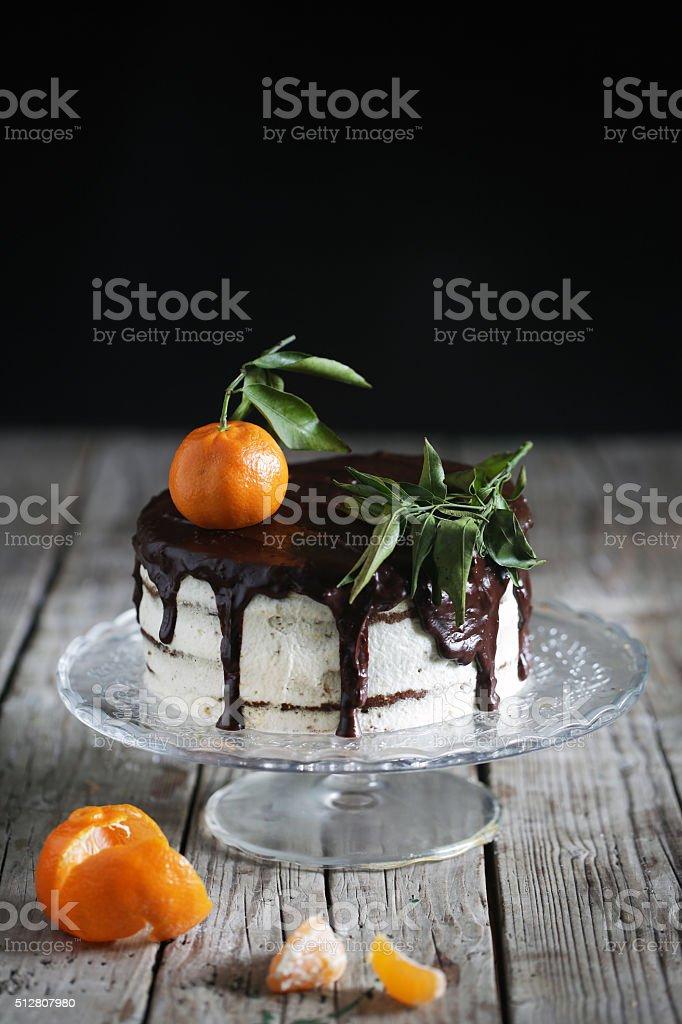 Réplique en pain d'épice du gâteau au chocolat à la crème mandarines et matelassage - Photo