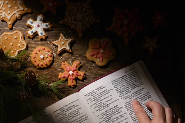 Gingerbread Christmas Cookie and Hope from Bible stock photo