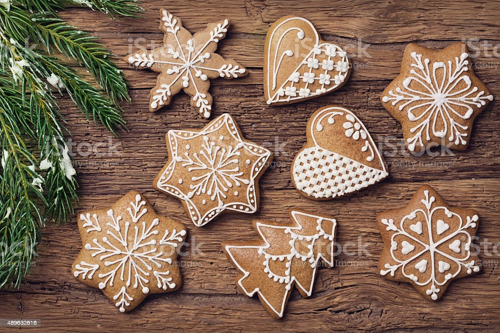 Gingerbread christmas cookies stock photo