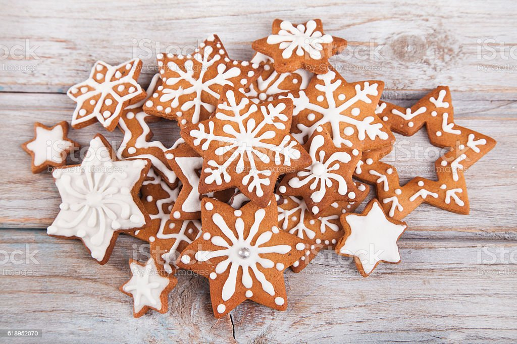 Gingerbread Christmas Star Cookies On White Stock Photo Download