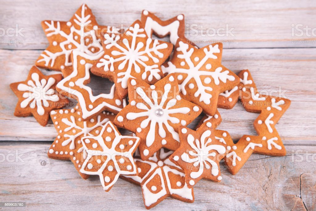 Gingerbread Christmas Star Cookies On White Rustic Wooden Table