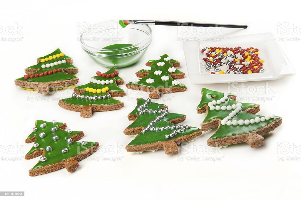 Gingerbread Christmas tree cookies royalty-free stock photo