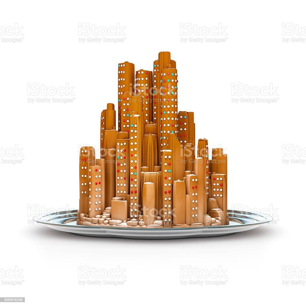 Gingerbread city concept stock photo