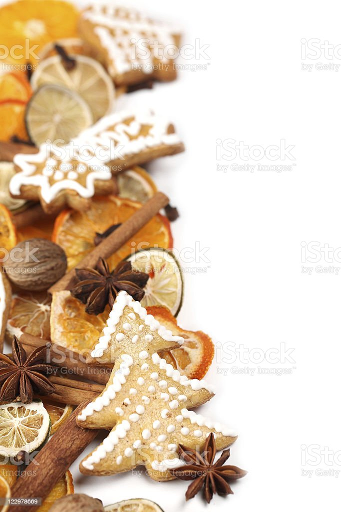 Gingerbread cookie and spice Christmas frame royalty-free stock photo
