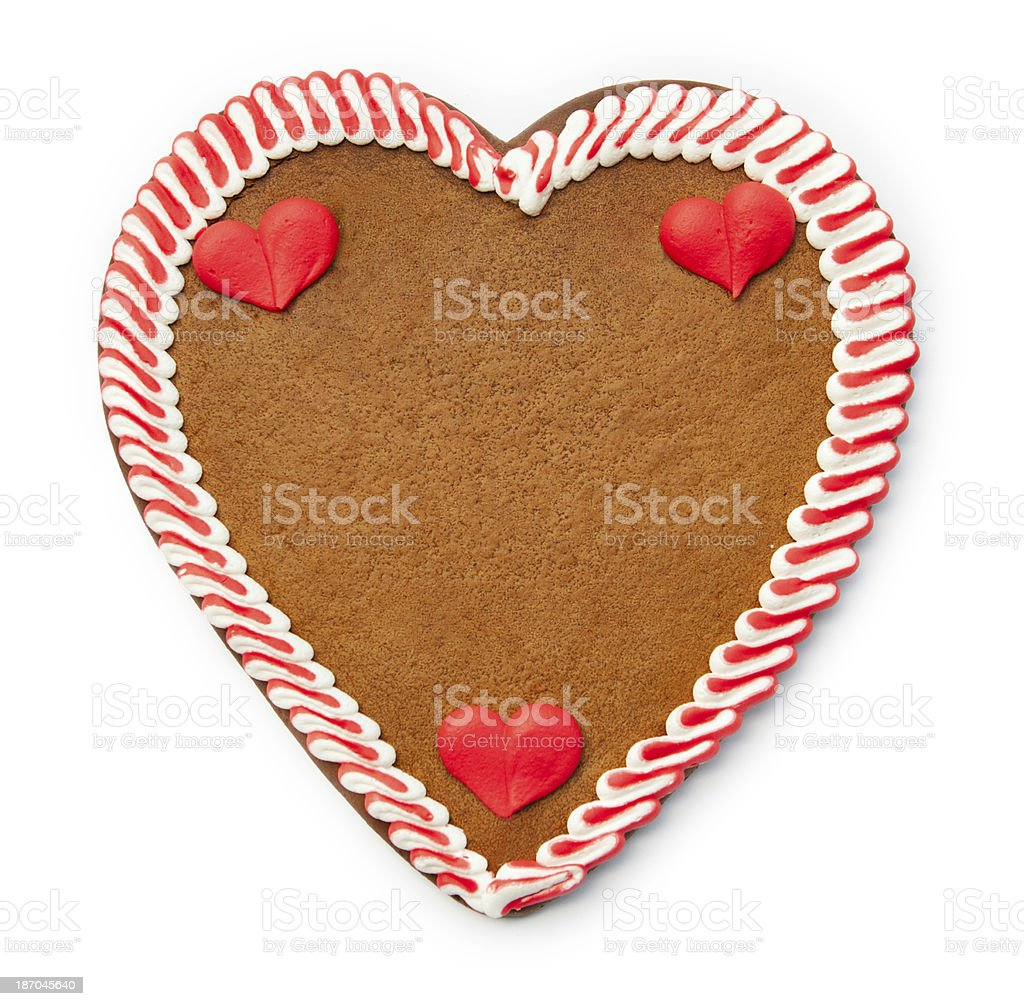 Gingerbread Cookie Heart with copyspace on white stock photo
