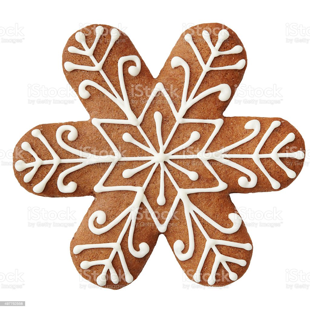 Gingerbread cookie in snowflake shape. stock photo
