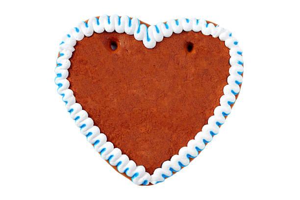 copyspace gingerbread cookie herz - lebkuchenherzen stock-fotos und bilder