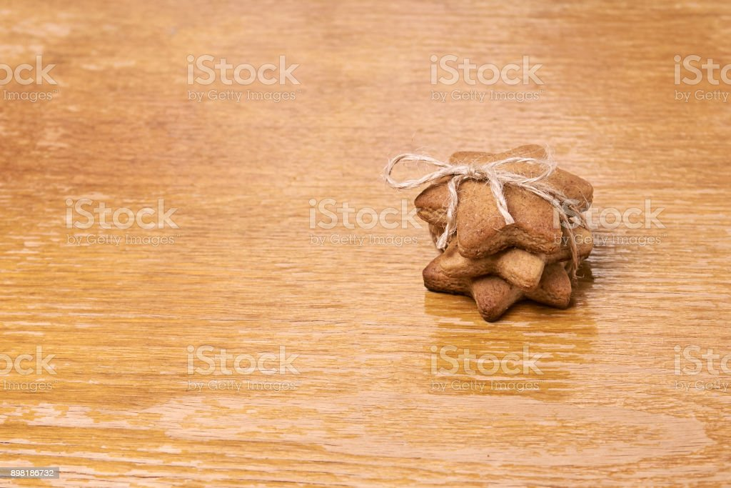 Gingerbread Cookie. Sweet New Year gift stock photo