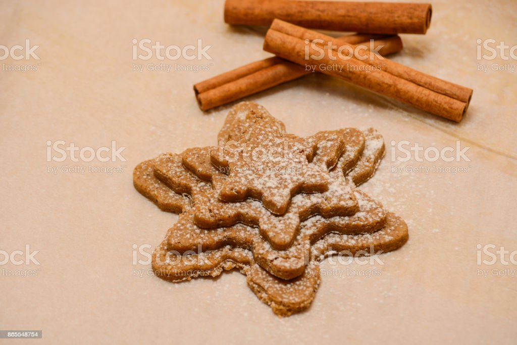 Gingerbread Cookies Dough Cinnamon And Bakery Tools Stock Photo