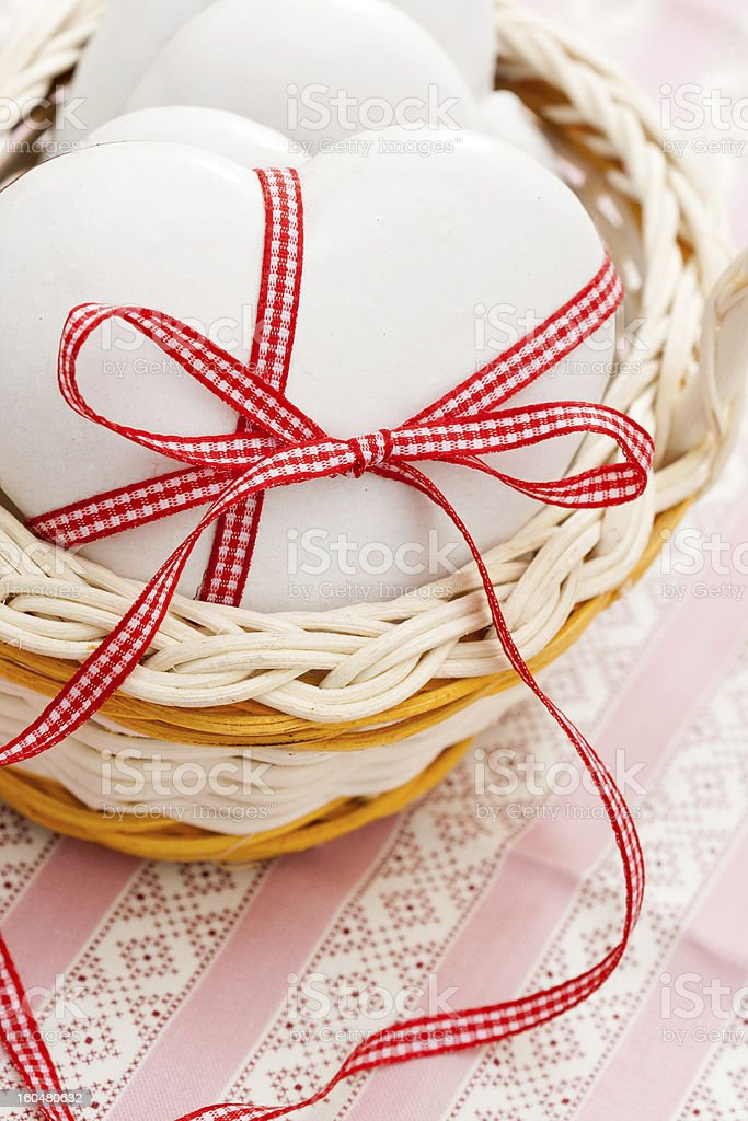 Gingerbread cookies heart-shaped royalty-free stock photo