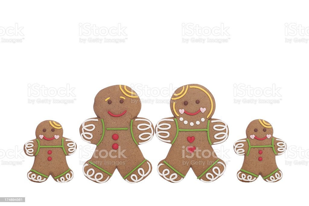 Gingerbread cookies isolated on white royalty-free stock photo
