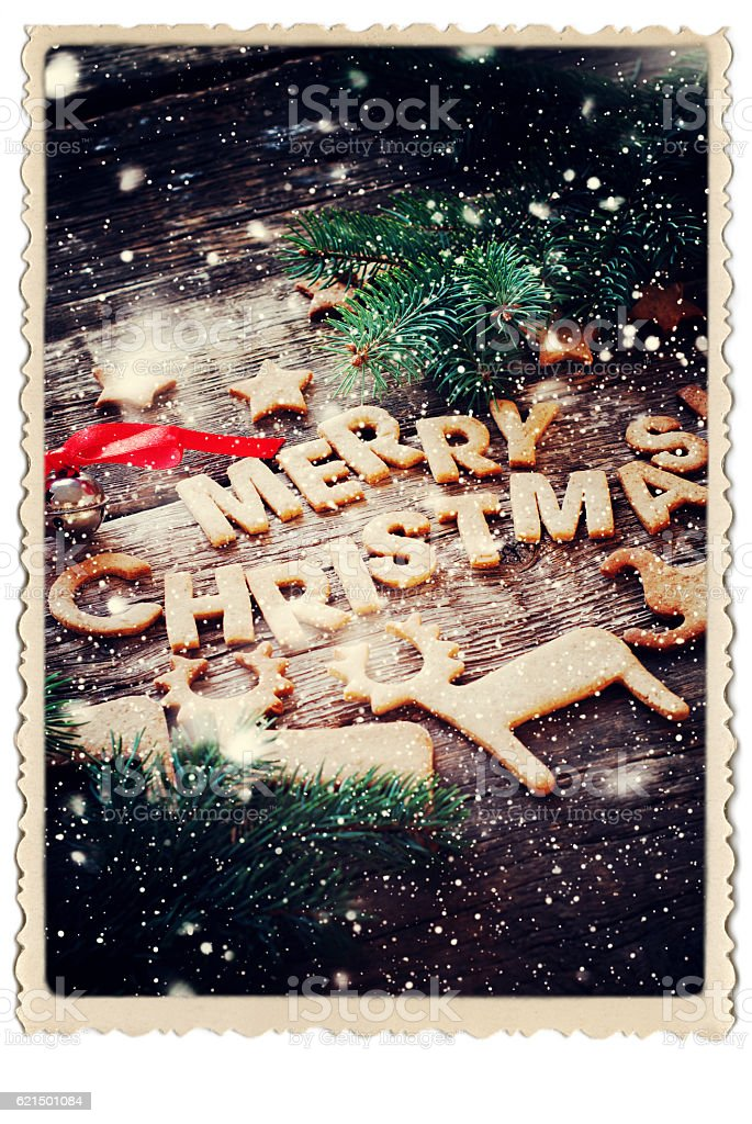 Gingerbread Cookies Letters Merry Christmas Frame foto stock royalty-free