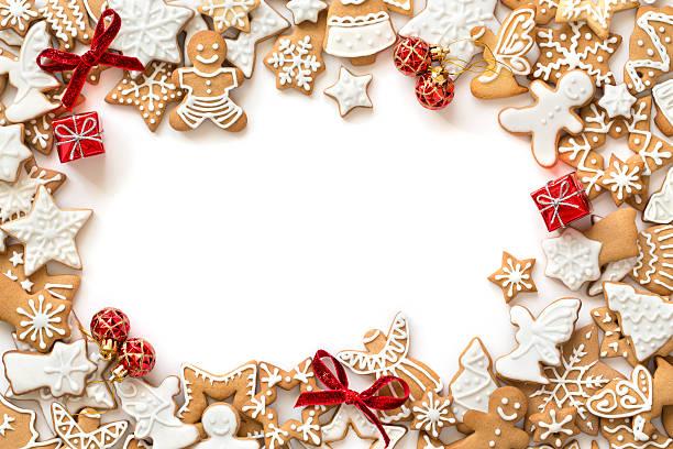 Lebkuchen-cookies, die auf weißem Hintergrund, horizontale Grenze – Foto