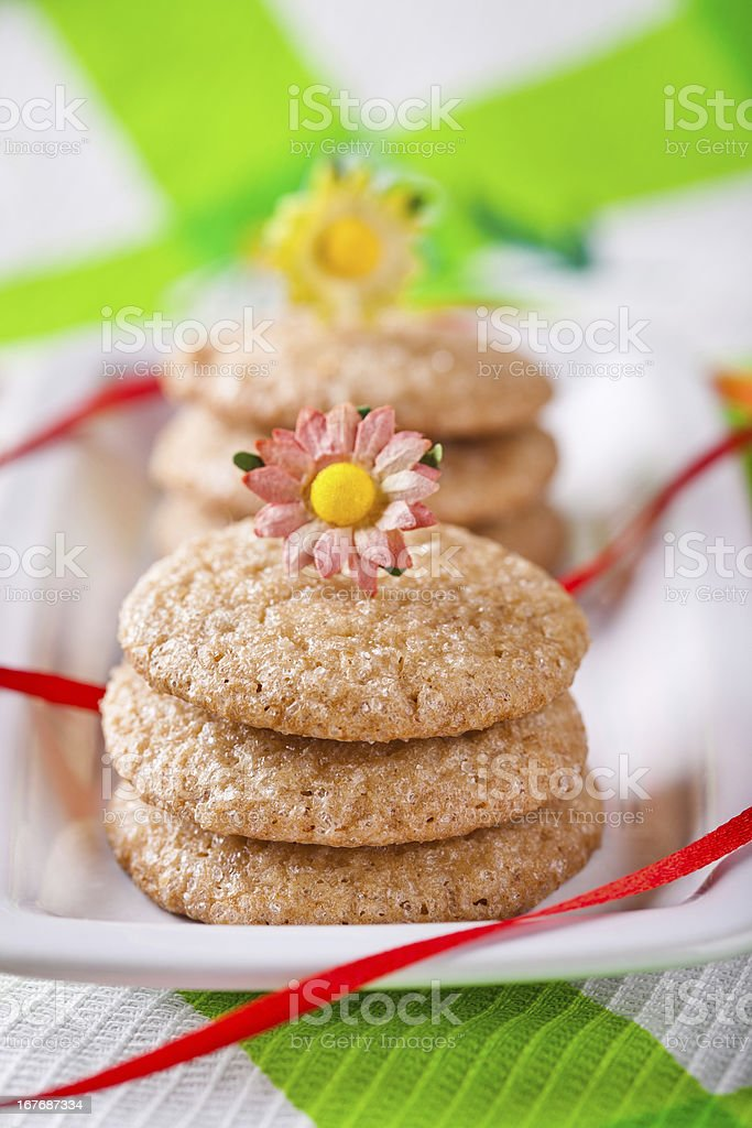 Gingerbread cookies on white plate royalty-free stock photo