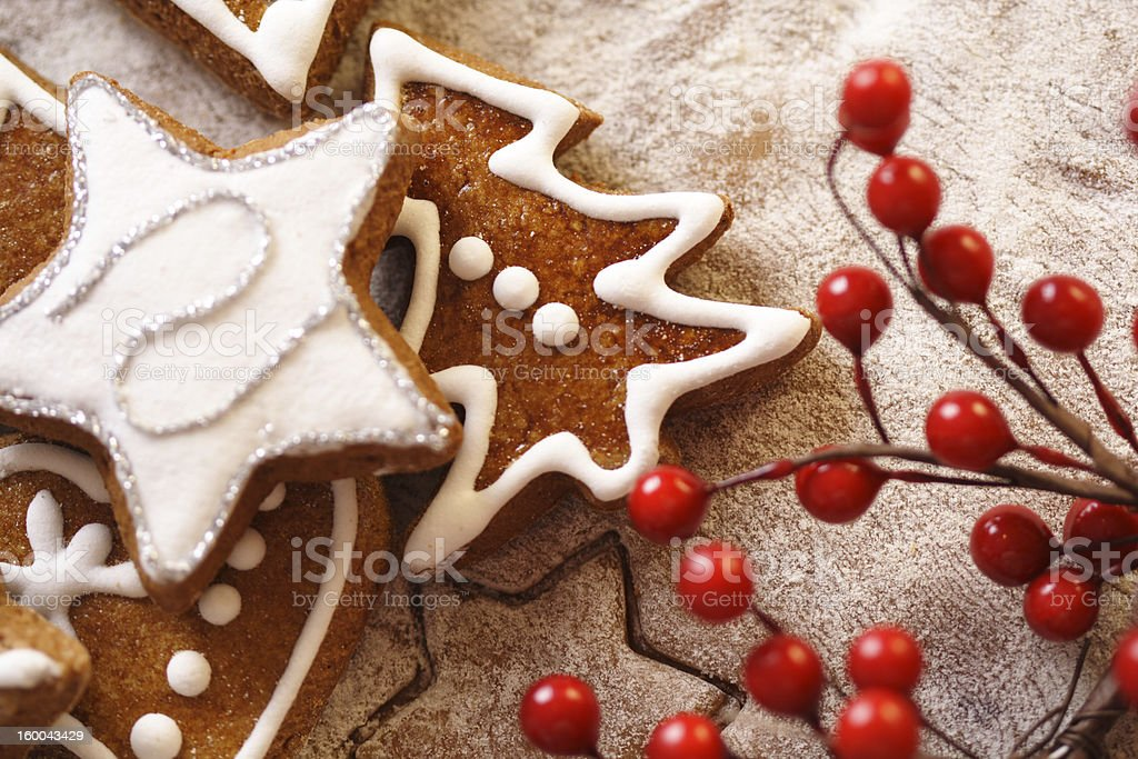Gingerbread cookies shaped like a star and a Christmas tree royalty-free stock photo