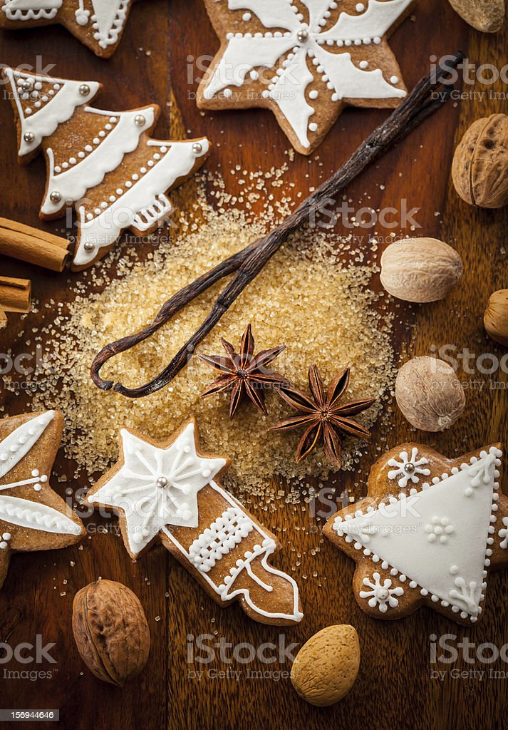 Gingerbread cookies with nuts and spices stock photo
