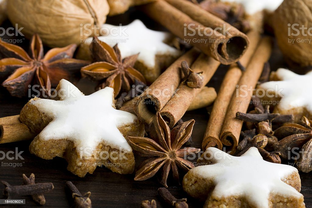 gingerbread cookies,nuts and spices royalty-free stock photo