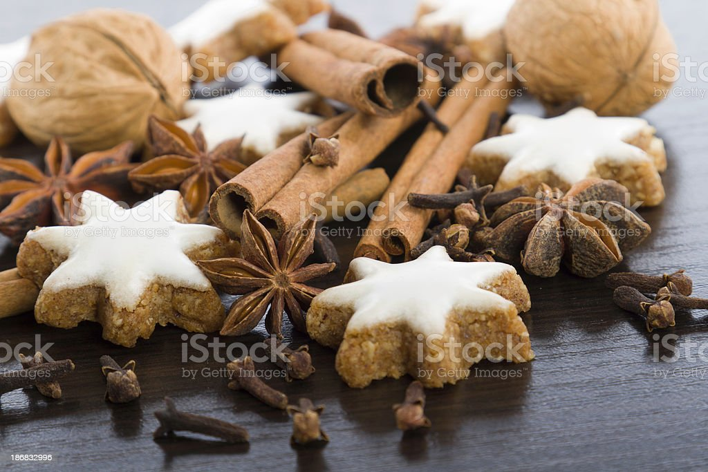 gingerbread cookies,nuts and spices stock photo
