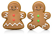 A couple of gingerbread cookies. \nIsolated on white.