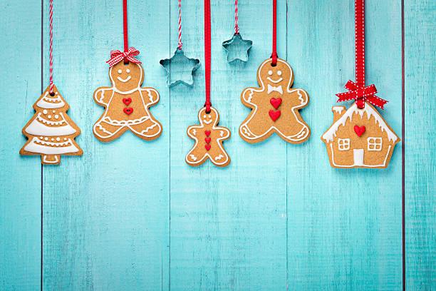Gingerbread family border stock photo