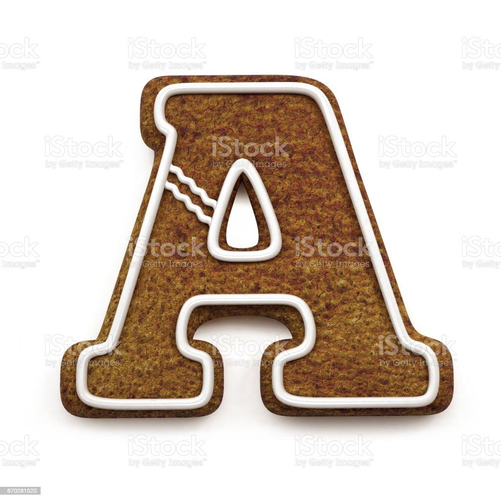 진저는 폰트입니다. 크리스마스 비스킷 알파벳 개념입니다. 큰 문자 A 스톡 사진