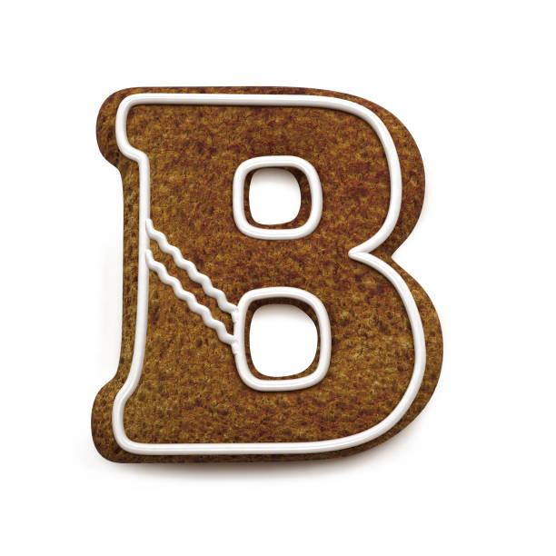진저는 폰트입니다. 크리스마스 비스킷 알파벳 개념입니다. 큰 문자 B 스톡 사진
