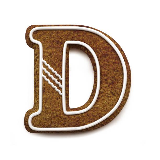 진저는 폰트입니다. 크리스마스 비스킷 알파벳 개념입니다. 큰 문자 D 스톡 사진