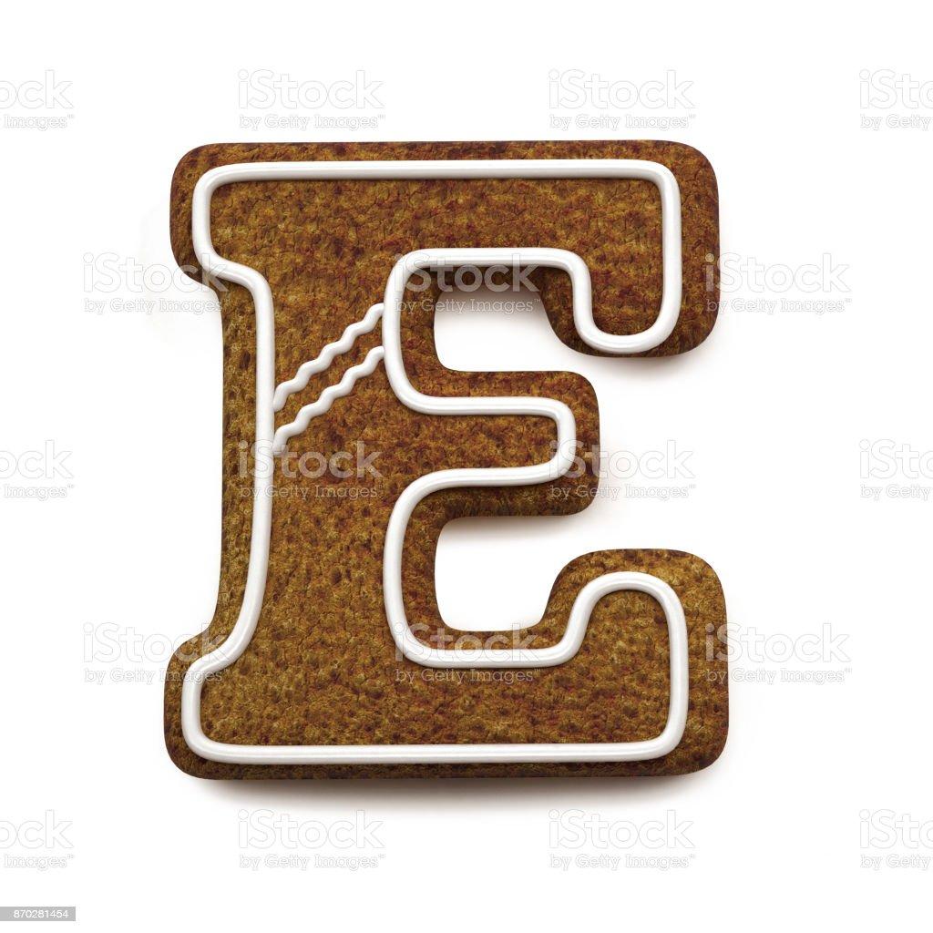 진저는 폰트입니다. 크리스마스 비스킷 알파벳 개념입니다. 큰 문자 E 스톡 사진