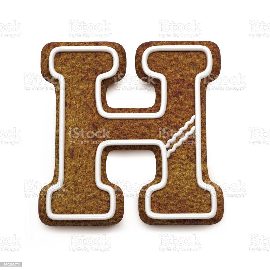 진저는 폰트입니다. 크리스마스 비스킷 알파벳 개념입니다. 큰 편지 H 스톡 사진