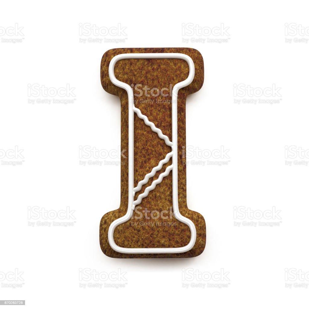 진저는 폰트입니다. 크리스마스 비스킷 알파벳 개념입니다. 큰 편지 I 스톡 사진