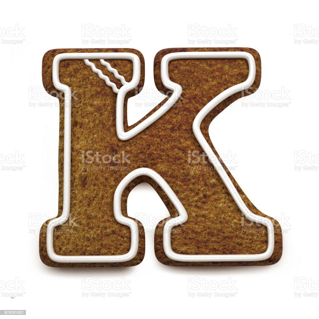 진저는 폰트입니다. 크리스마스 비스킷 알파벳 개념입니다. 큰 편지 K 스톡 사진