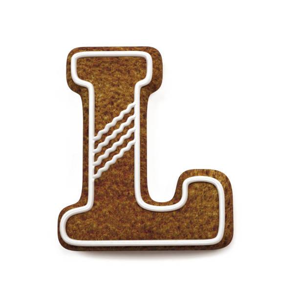 진저는 폰트입니다. 크리스마스 비스킷 알파벳 개념입니다. 큰 편지 L 스톡 사진